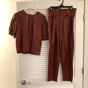 Brick Red Leather Top & High Waited Pant Set